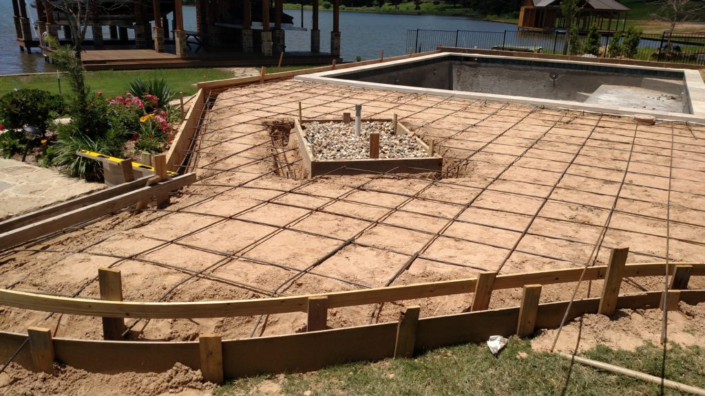 deck construction with rebar laid across