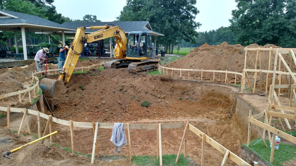 excavation in progress on a free form pool